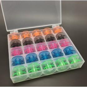 25 coloured bobbins in a box