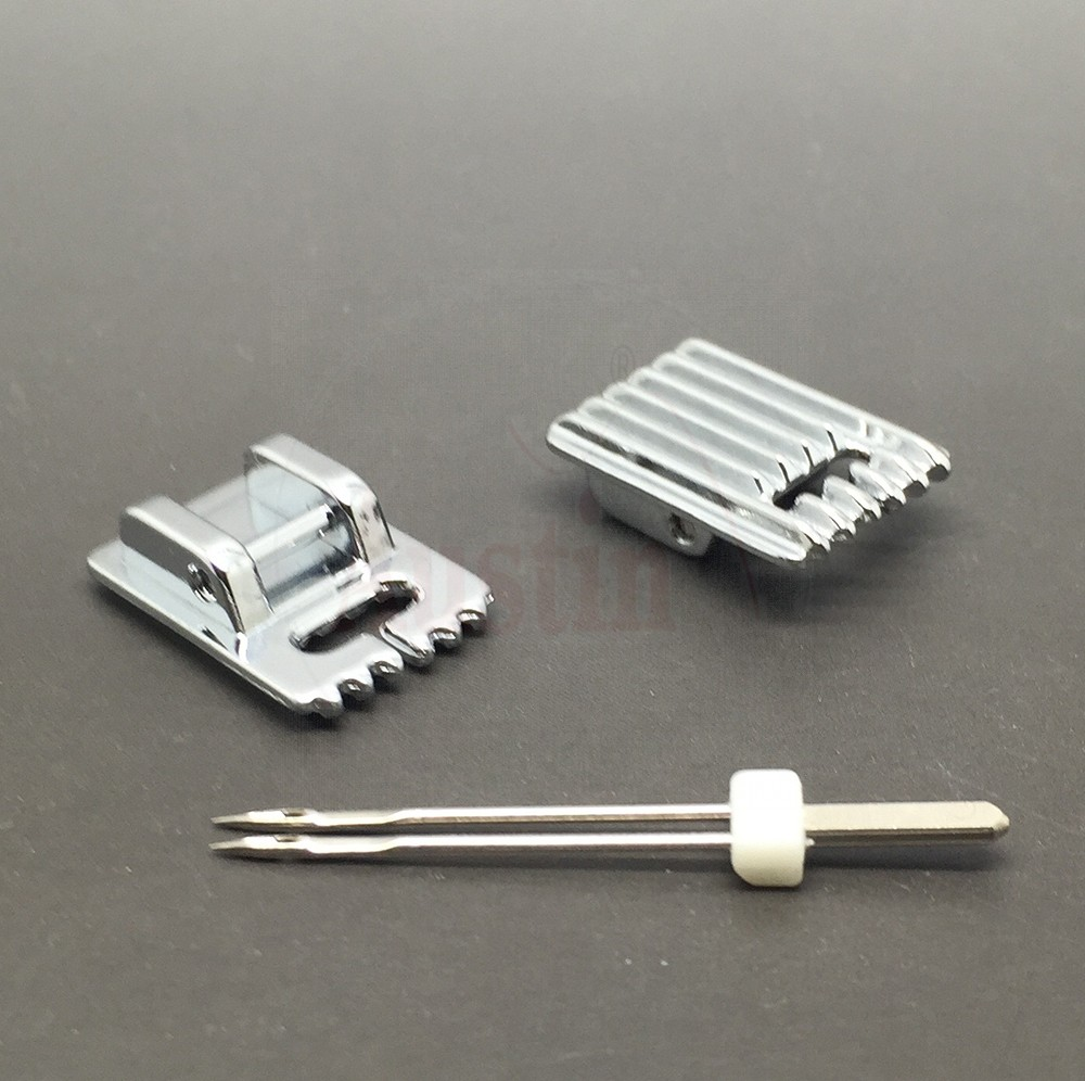 PIN TUCK PINTUCK FOOT 5 GROOVE WITH FREE TWIN NEEDLE  FIT MOST MAKES OF SEWING MACHINES