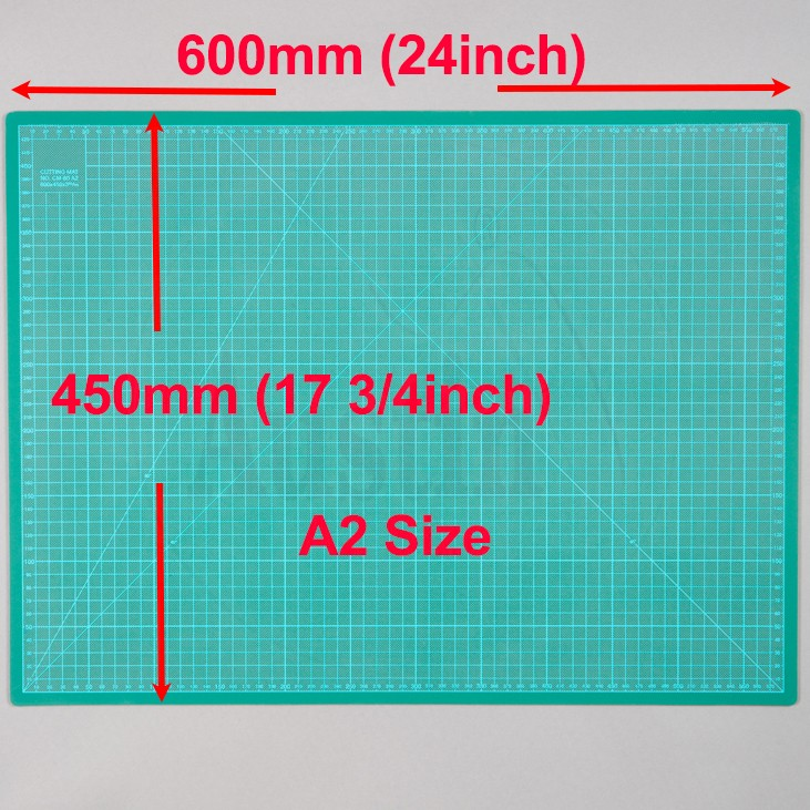 A2 Cutting Mat Self Healing 450mm x 600mm Green (17.5 inch x 24 inch)